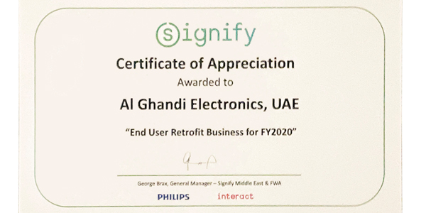 Al Ghandi Electronics awarded for Philips LED Lighting Retrofit Business